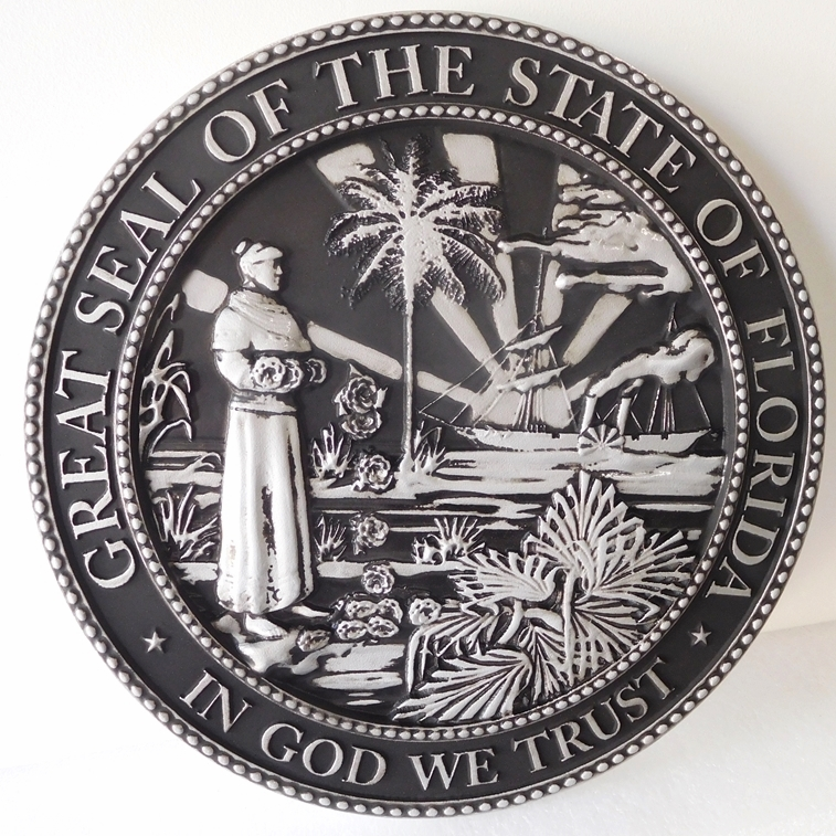 W32114 - Metallic Silver Painted Carved 3-D HDU Wall Plaque of the Seal of State of Florida, with Hand-Rubbed Black Paint