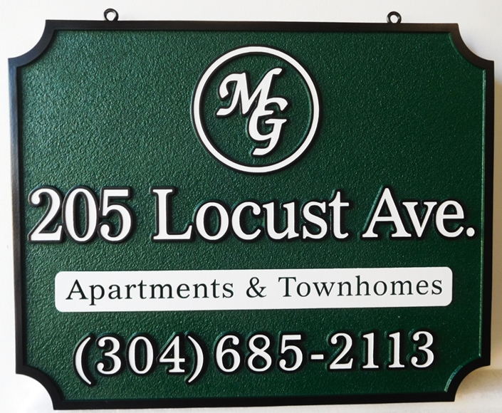 "K20336 - Carved HDU Entrance Sign, for ""MG"" Apartment and Townhomes  Complex., with  Sandblasted  Sandstone Texture Background"
