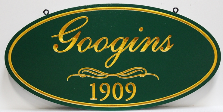 """I18178 - Elegant Carved High-Density-Urethane (HDU) property name Sign, """"Googins - 1909"""", with Text and Border Gilded with 24K Gold Leaf"""