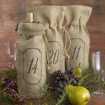 Burlap Wine Bags - Table Numbers - 1-10