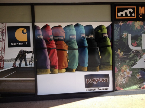 Brand with storefront window graphics Orange County
