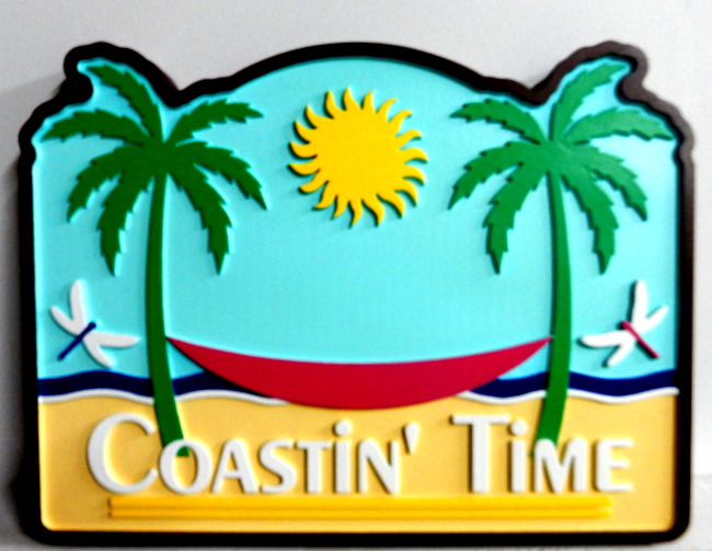 "L21078 - Carved HDU Sign ""Coastin' Time"" with Hammock,  Palm Trees, Sun and Ocean"