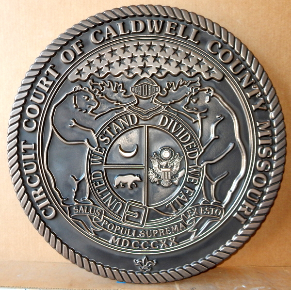X33309 - Carved 2.5-D HDU Large Wall Plaque of the Seal of the Circuit Court of Caldwell County, Missouri
