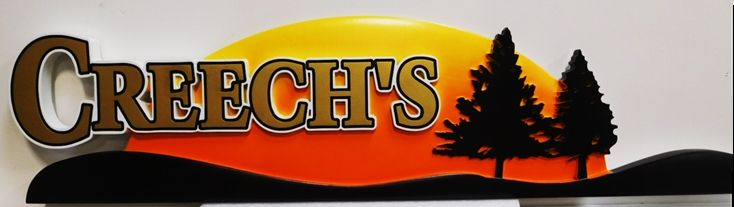 "M22083 -  Carved HDU Name Sign ""Creech's"", with Setting Sun and Trees as Artwork, 2.5-D"