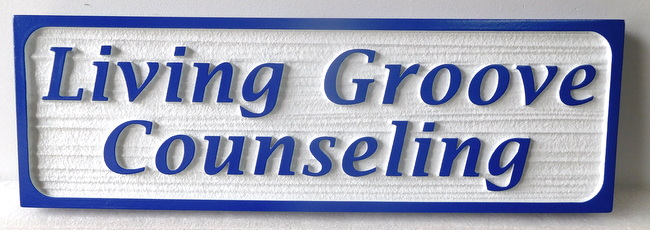 D13158 - Carved and Sandblasted (Wood Grain Texture) Sign for Living Groove Counseling