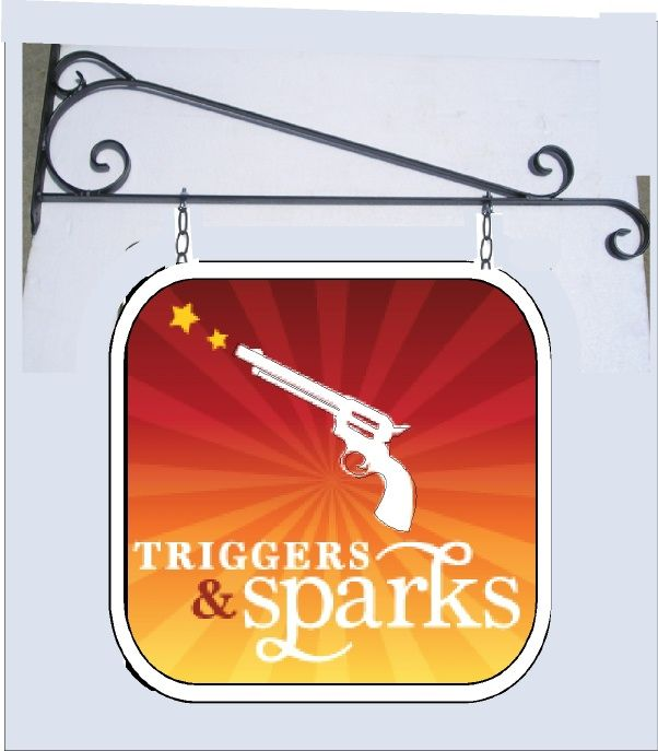 SA28397 -Double-faced Carved 2.5-D HDU  Sign for Gun Shop Hung from Decorative Wrought Iron Scroll Bracket