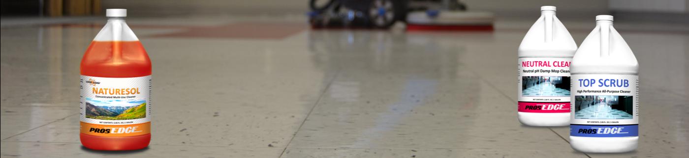 Pros Edge Chemical Bottles on Shiny Floor