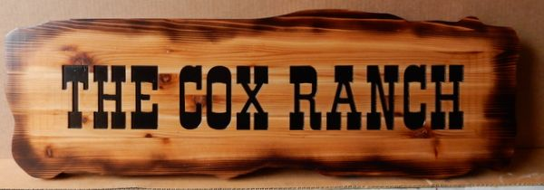 O24958 - Antiqued, Burn Look, Pine Wood Sign for Cox Ranch