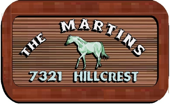 P25437 - Sandblasted Redwood Address Sign with White Arabian Horse