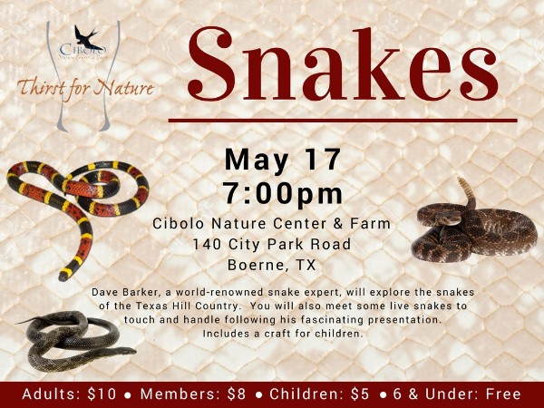 CNC: a Thirst for Nature event - Snakes