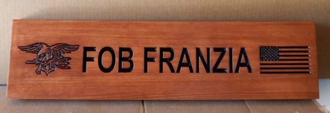 KP-3180 -  Carved Nameplate Plaque, US Marine Corps,  Cedar Wood