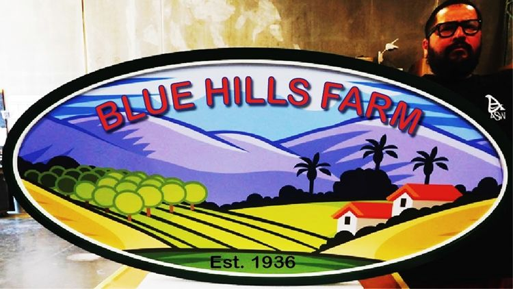 """O28842 - Carved  HDU Entrance Sign for the """"Blue Hills Farm' , 2.5-D Multi-Level Relief, Artist-Painted Mountain and Farmland Scene"""