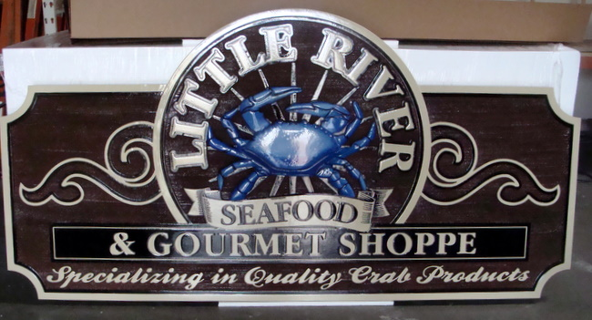 L21525 - Carved Blue Crab Seafood Restaurant and Gourmet Shop Sign