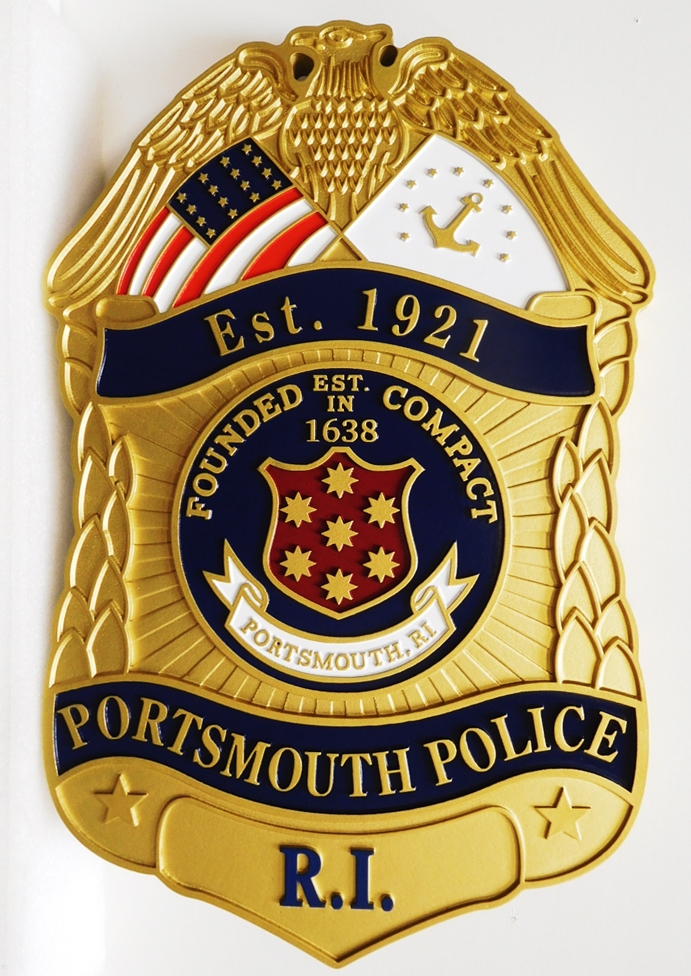 PP-1472 - Carved Plaque of the Badge of the Police of the City of Portsmouth, Rhode Island, 3-D Artist-Painted