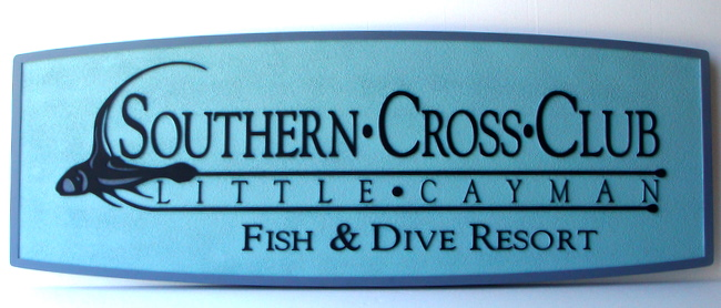 "T29150 - Carved  and Sandblasted HDU Sign for the ""Southern Cross Club""  Fish & Dive Resort in the Cayman Islands"