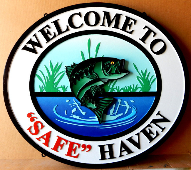 "M22584 - Carved HDU Sign with Leaping Fish: Welcome to ""Safe"" Haven"
