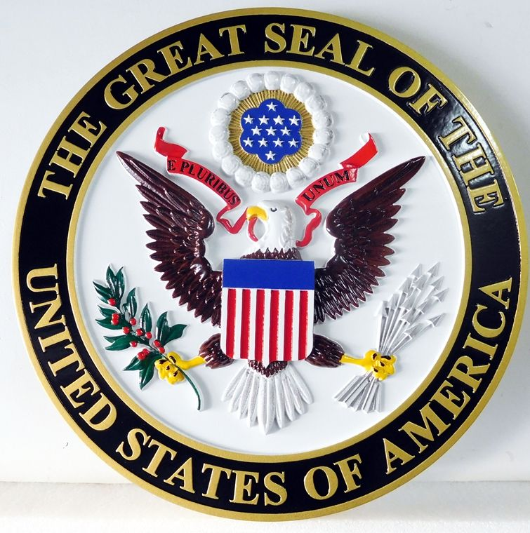 AP-1010 - Carved Plaque of the Great Seal of the United States, Artist Painted