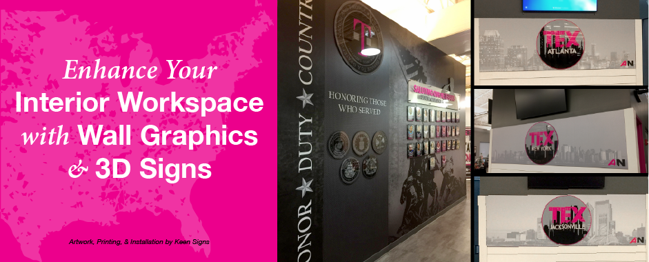 T-Mobile call center wall murals and 3D Signs