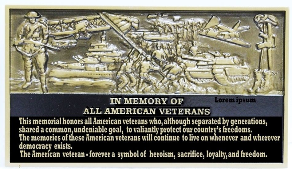 IP-1336 - Carved 3-D Brass-Plated HDU Memorial Plaque for All American Veterans