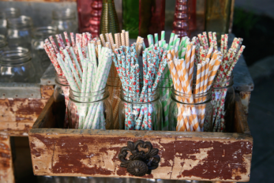 Paper straws in jars