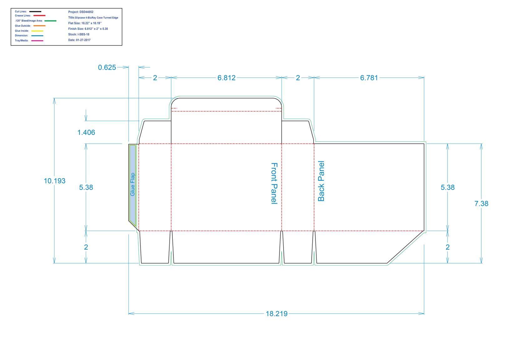 DSD44052 Slipcase 4 Bluray Case Turned Edge