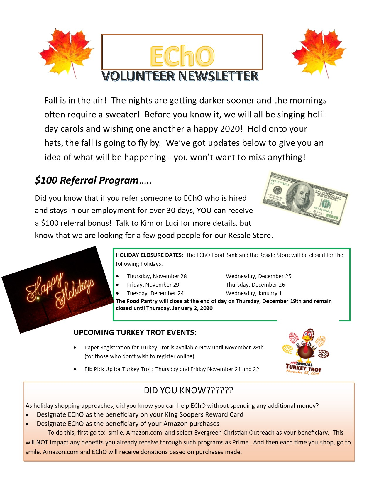 2019 Fall Volunteer Newsletter