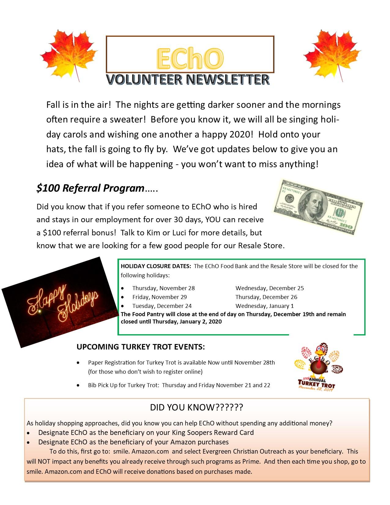 2019 Fall Volunteer Newsletter
