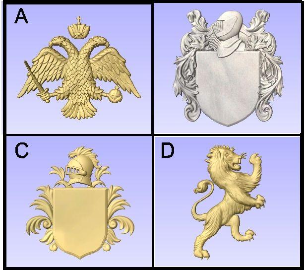 U30915 - Carved Heraldry Symbols