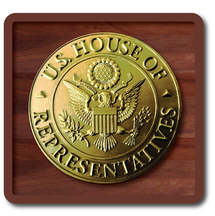 AP-2060 -  Carved Plaque of the Seal of the US House of Representatives, Metallic Dark Gold Painted, on Wood