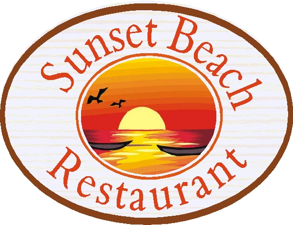 Q25166 - Design of Carved HDU Sunset Beach Restaurant Sign with Carved Setting Sun, Ocean, Boats and Seagulls