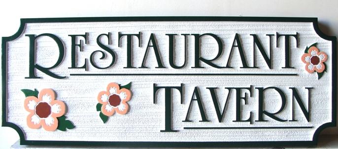 RB27134 -Sandblasted HDU Restaurant Tavern Sign with Flowers