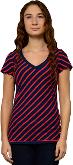 T-Shirt V-neck Navy-Red