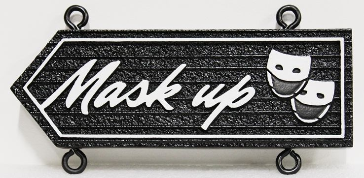 "D13303 - Carved and  Sandblasted HDU Sign ""Mask Up"", for COVID-19 Public Health"