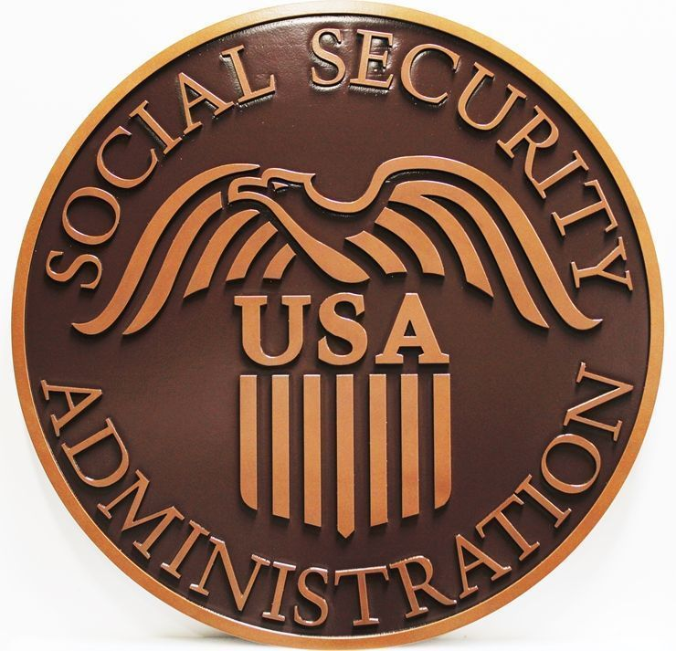 U30436 - Carved 2.5-D HDU Plaque of the Seal of the Social Security Administration, Painted in Bronze Colors