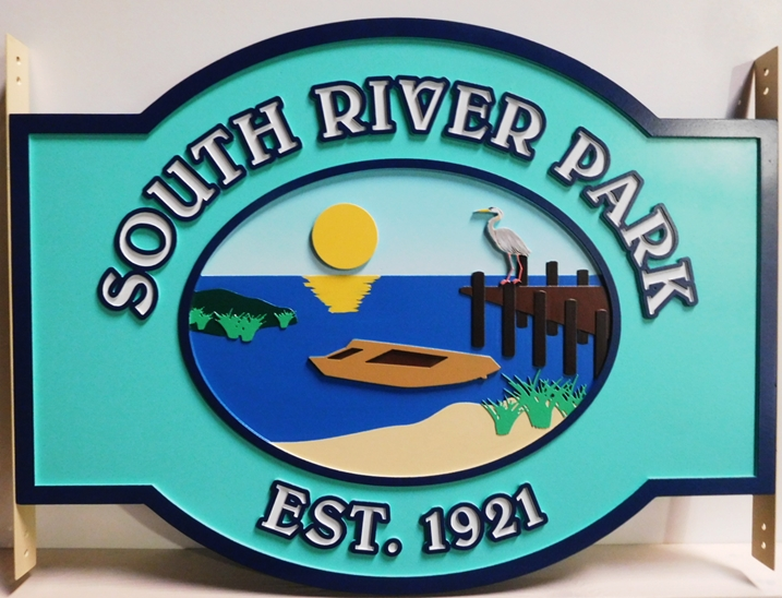 "M22512 - Carved  ""South River Park"" Sign with a Boat , a Dock, a Crane, and the Setting Sun as Artwork"