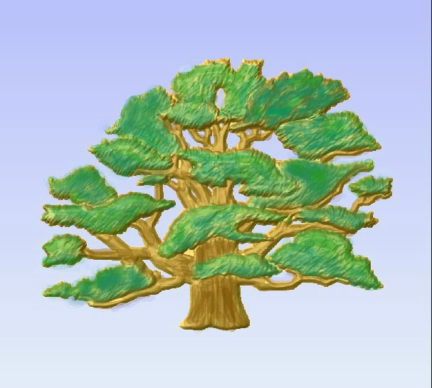 M2986 - Carved Oak Tree, Painted Enamels
