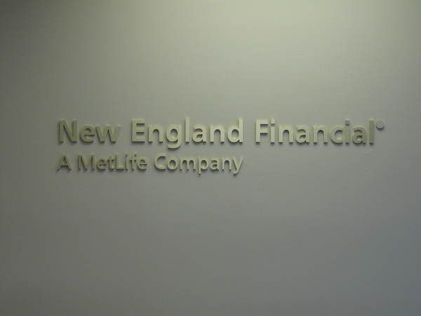 "Interior Reception Area Lobby Sign, 1/4"" Satin Brass Letters on Reception Area Wall"