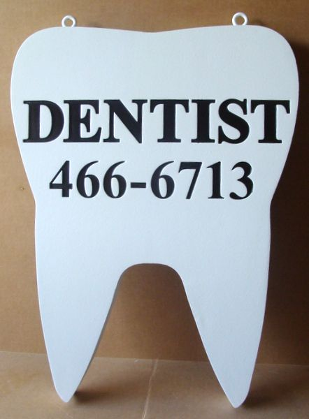 BA11626 - Dental Office Hanging  Sign, in Shape of Molar