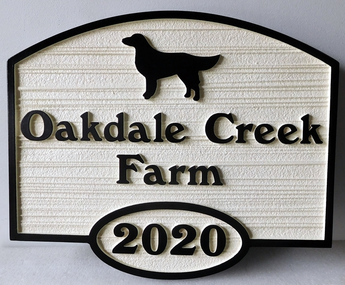 O24507 - Carved , Sandblasted Sign for Dog and Farm