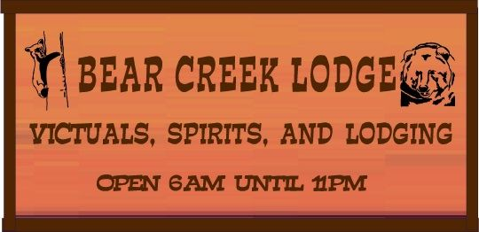 "T29135 - Carved Engraved Redwood  Sign for the "" carved  Redwood  sign for the ""Bear Creek Lodge"","", with Grizzly  Bears as Artwork"