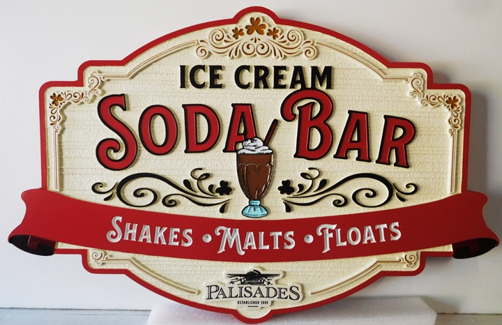 "Q25823 - Carved and Sandblasted Wood Grain Background Sign for an ""Ice Cream Soda Bar"""