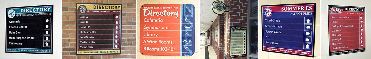 6 pictures school directory boards, custom signs, school signs, any color or mascot, school hallway