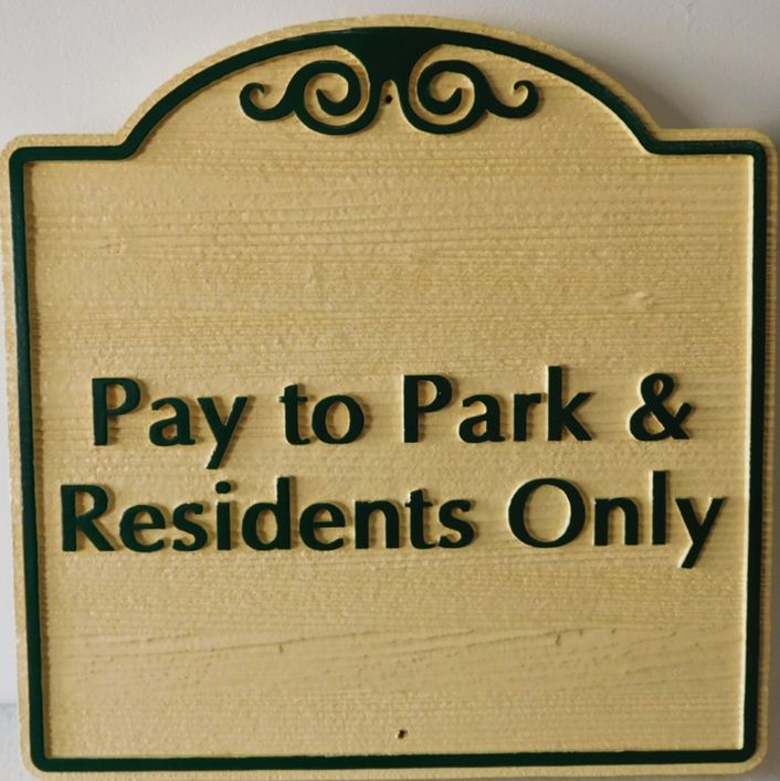 "KA20702- Carved Cedar Wood  ""Pay to Park"" Sign"