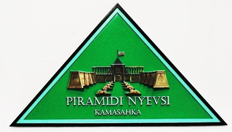 SA28072 - Carved 3-D HDU Triangular Sign for sign for Piramidi Nyevsi , Kamasahka, with a Pyramid as Artwork
