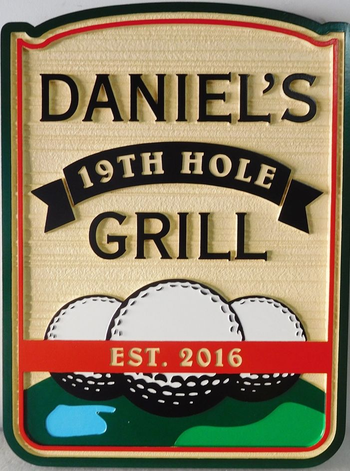 "E14663 - Carved and Sandblasted Wood Grain ""Daniel's 19th Hole Grill""  Wall Sign with Golf Ball Artwork"