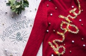 Goodwill DIY Holiday Couples Sweaters