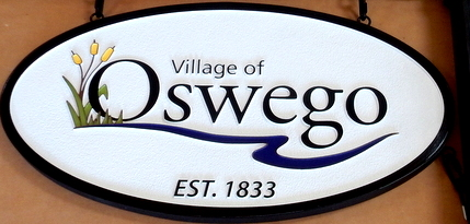 F15020 - Carved and Sandblasted HDU Tavern Sign (Closeup) between Two Posts for the Village of Oswego, Illinois