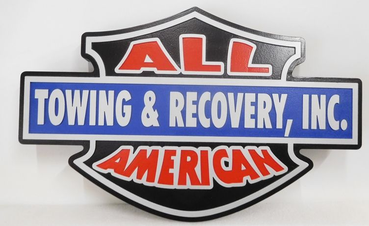 """SA28728 -  Colorful and Attention-getting High-Density-Urethane (HDU)  Sign for 'All American Towing & Recovery, Inc. """""""