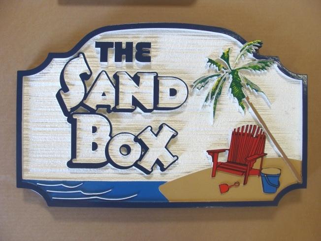 "L21028 - Sandblasted HDU Beach Sign with Palm and Chair, ""The Sandbox"""