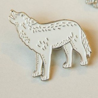 White Wolf Pin by Darwin Designs